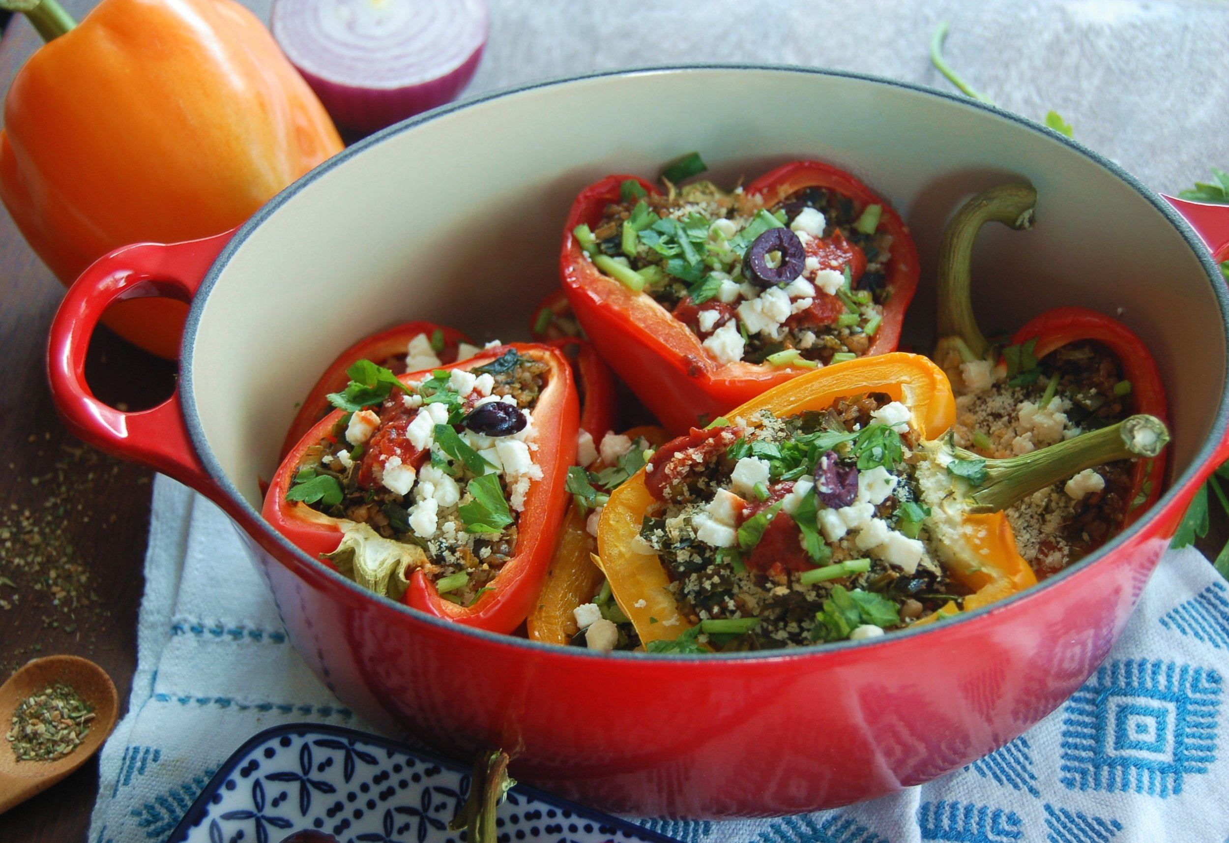 GREEK-STYLE STUFFED PEPPERS - {Made with Arvinda's Greek Taverna}