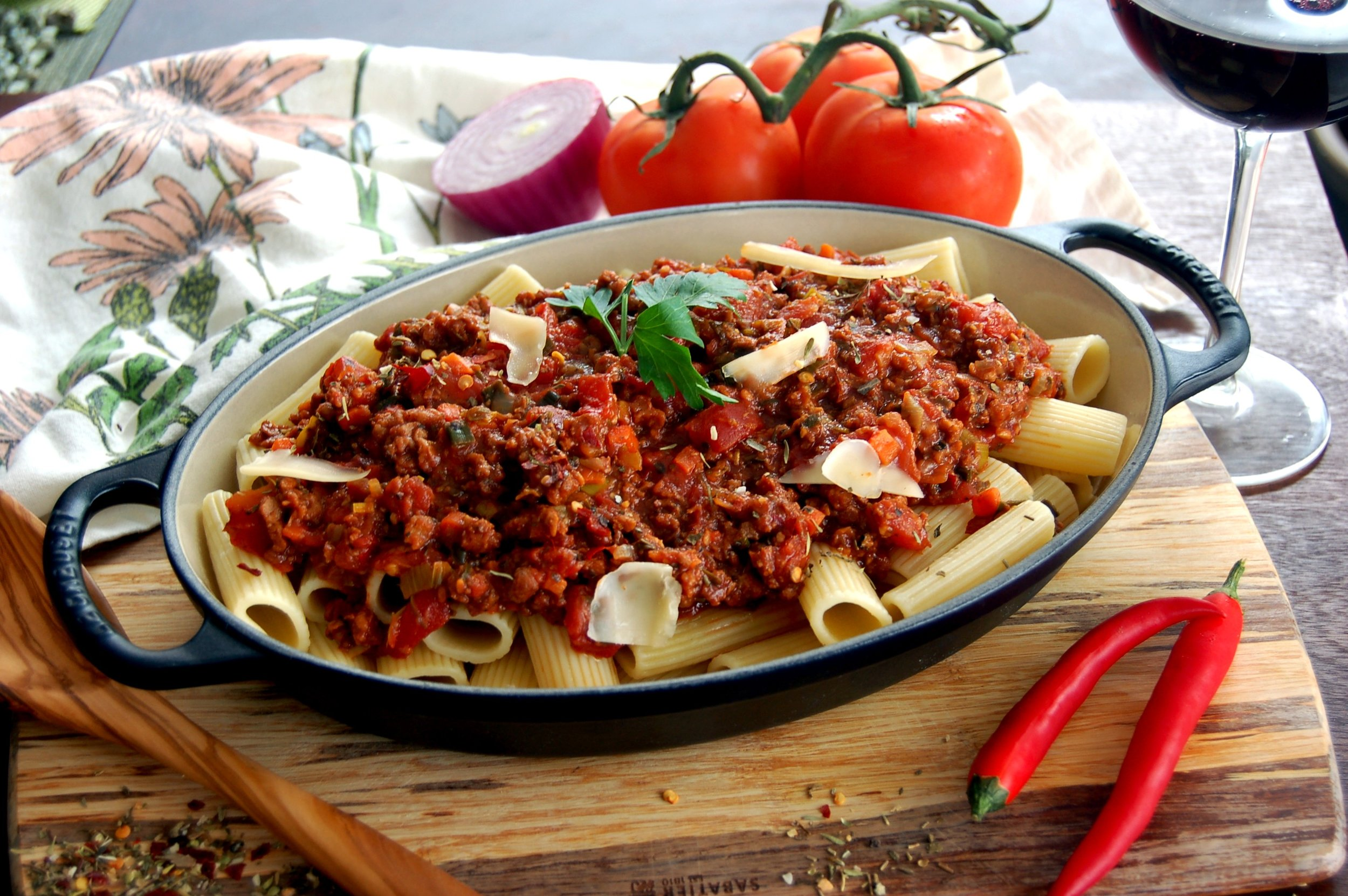 RIGATONI with BOLOGNESE SAUCE - {Made with Arvinda's The Hot Italian}