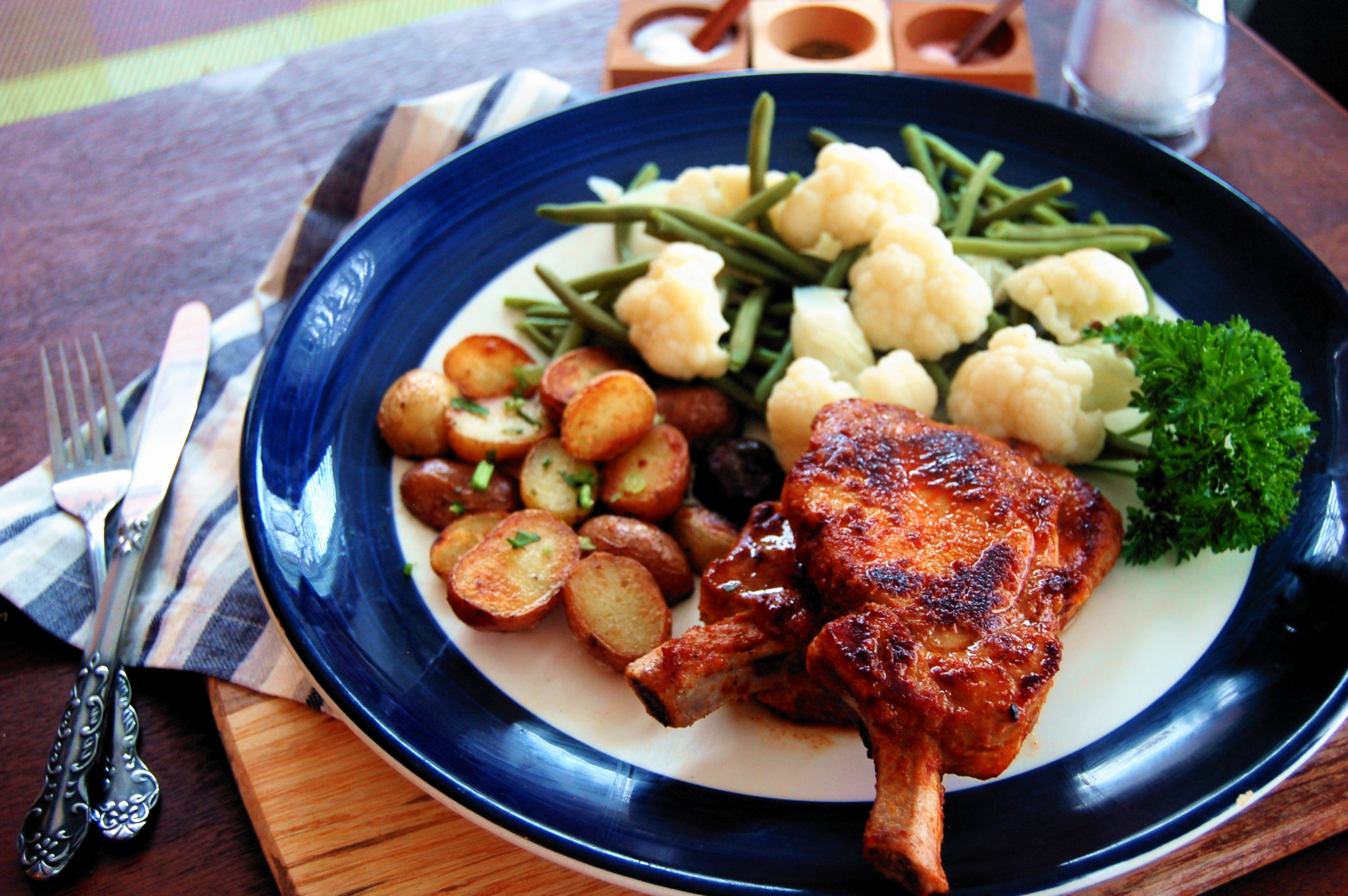 BBQ PORK CHOPS - {Made with Arvinda's Smoky Southern BBQ}