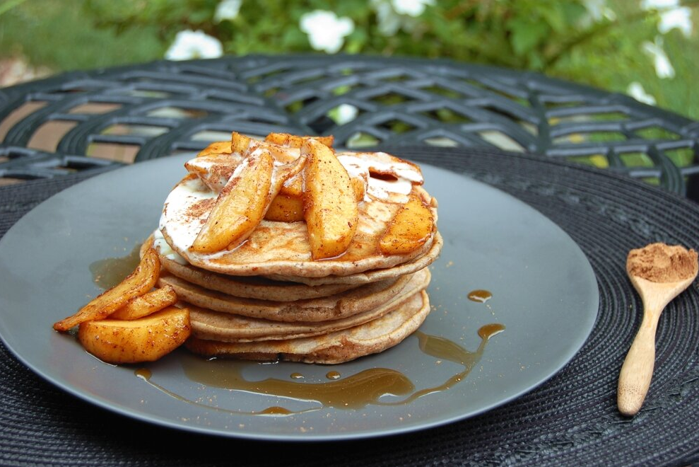 CARAMELIZED SPICED APPLE PANCAKES with MAPLED WHIP CREAM - {Made with Arvinda's Autumn Apple Spice}
