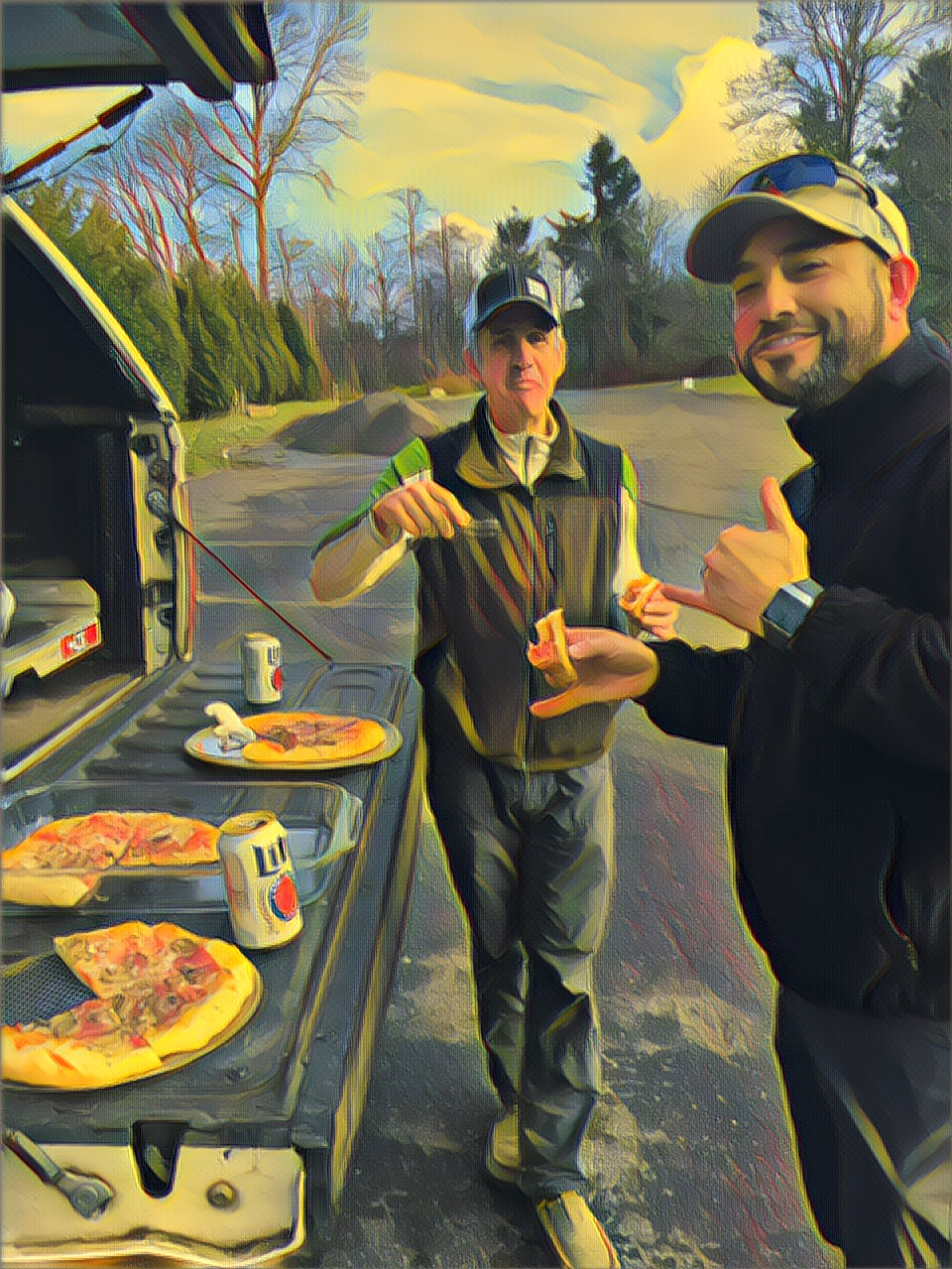 Doug and a test subject during a recent pizza experiment.