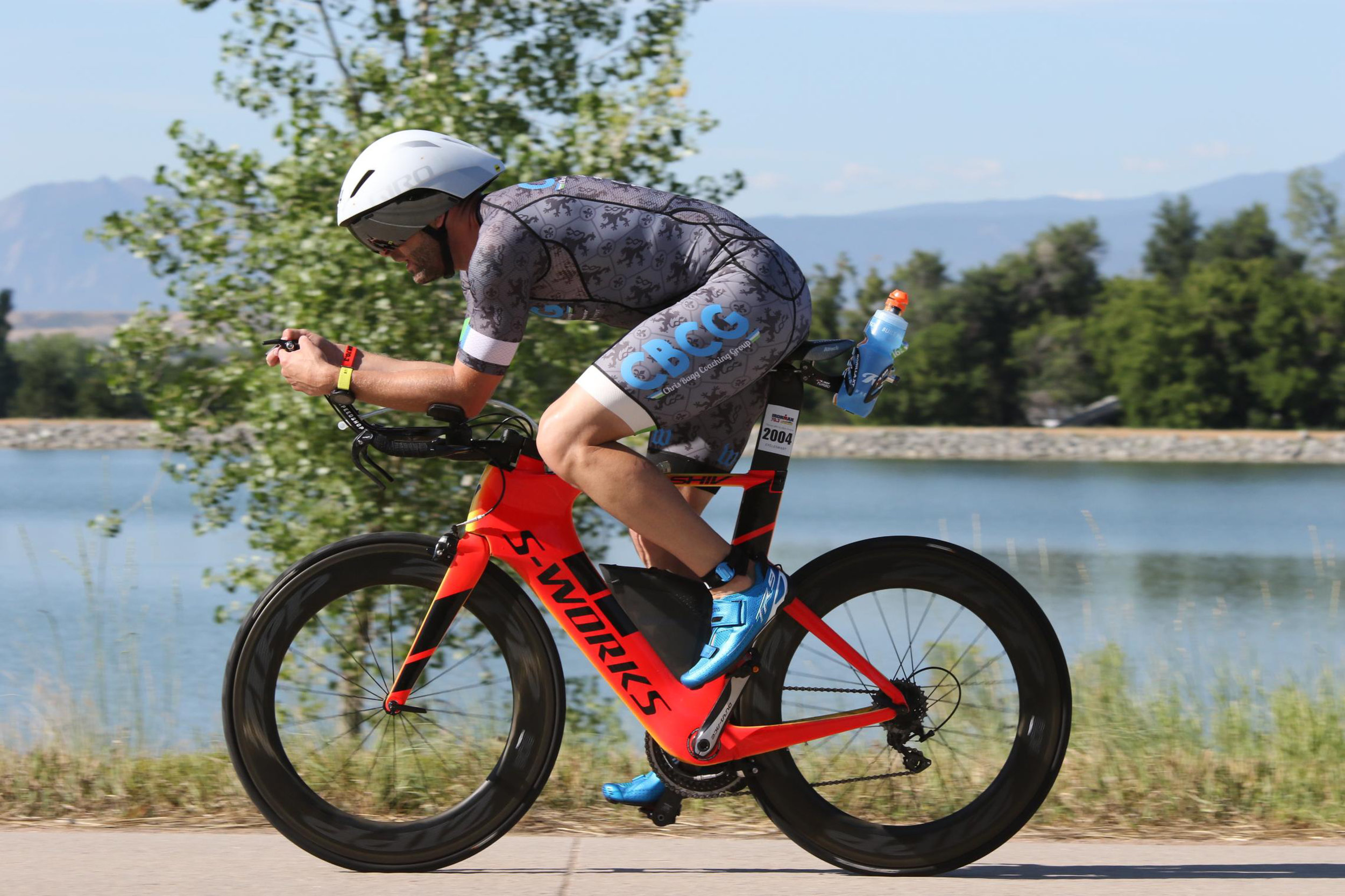 John on course at Boulder 70.3, where he set a bike PR by five minutes