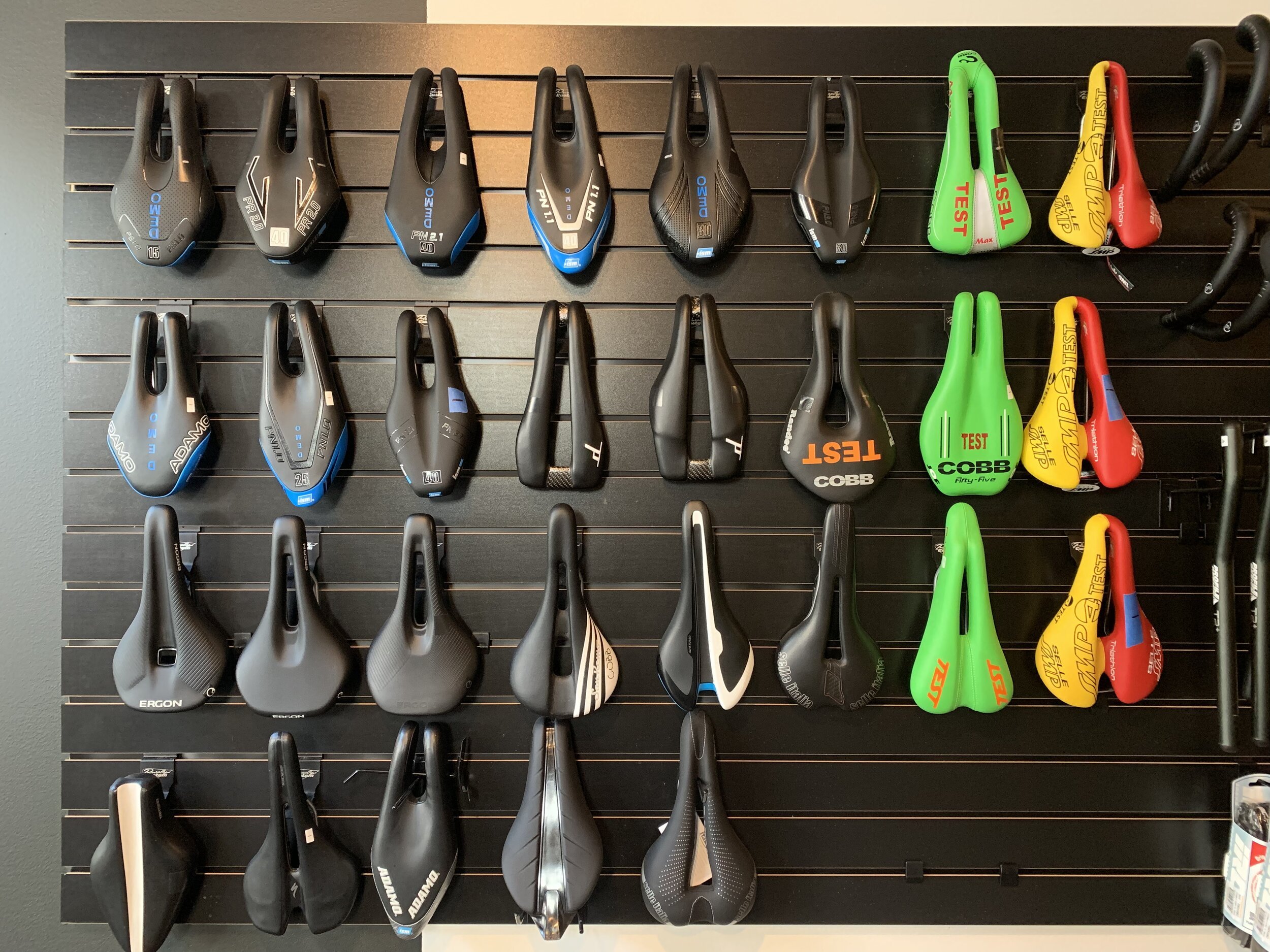 DEMO SADDLE LIBRARY - Our extensive Demo Saddle Library makes testing different saddles a breeze. We have the full range of saddles from ISM and Cobb along with select models from Specialized, Giant, and Fizik.