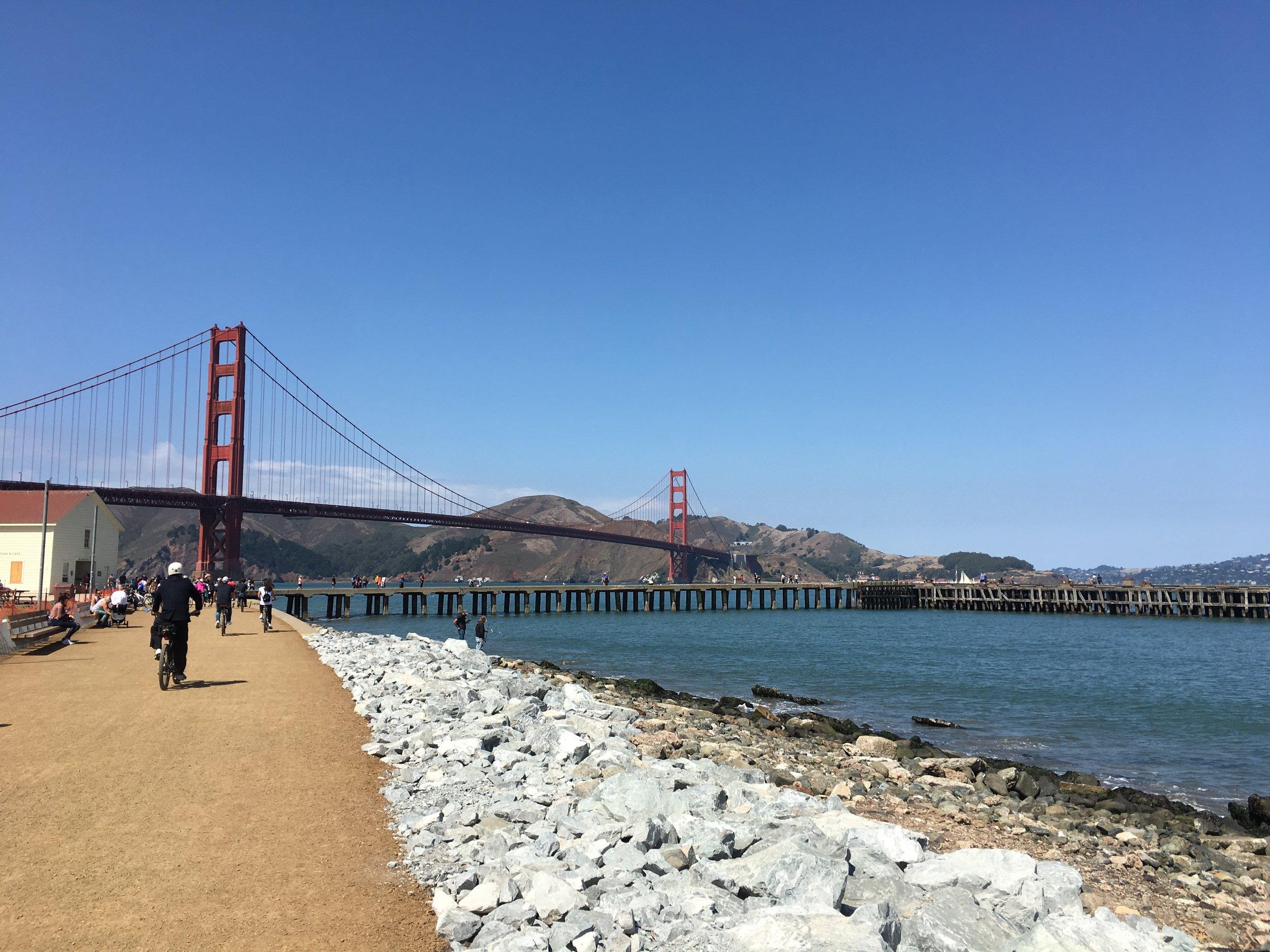 The bike path to the Golden Gate Bridge