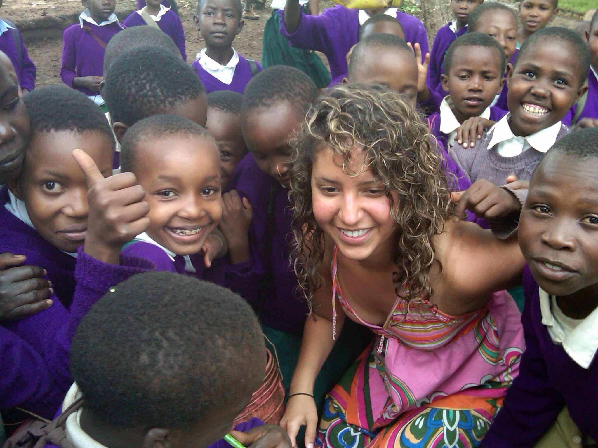 Interacting with the Tanzanian schoolchildren
