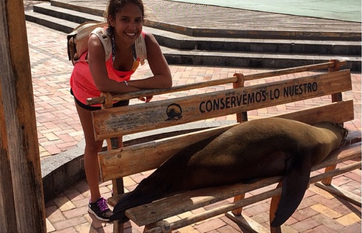Hanging out with a sleepy sea lion in the Galápagos
