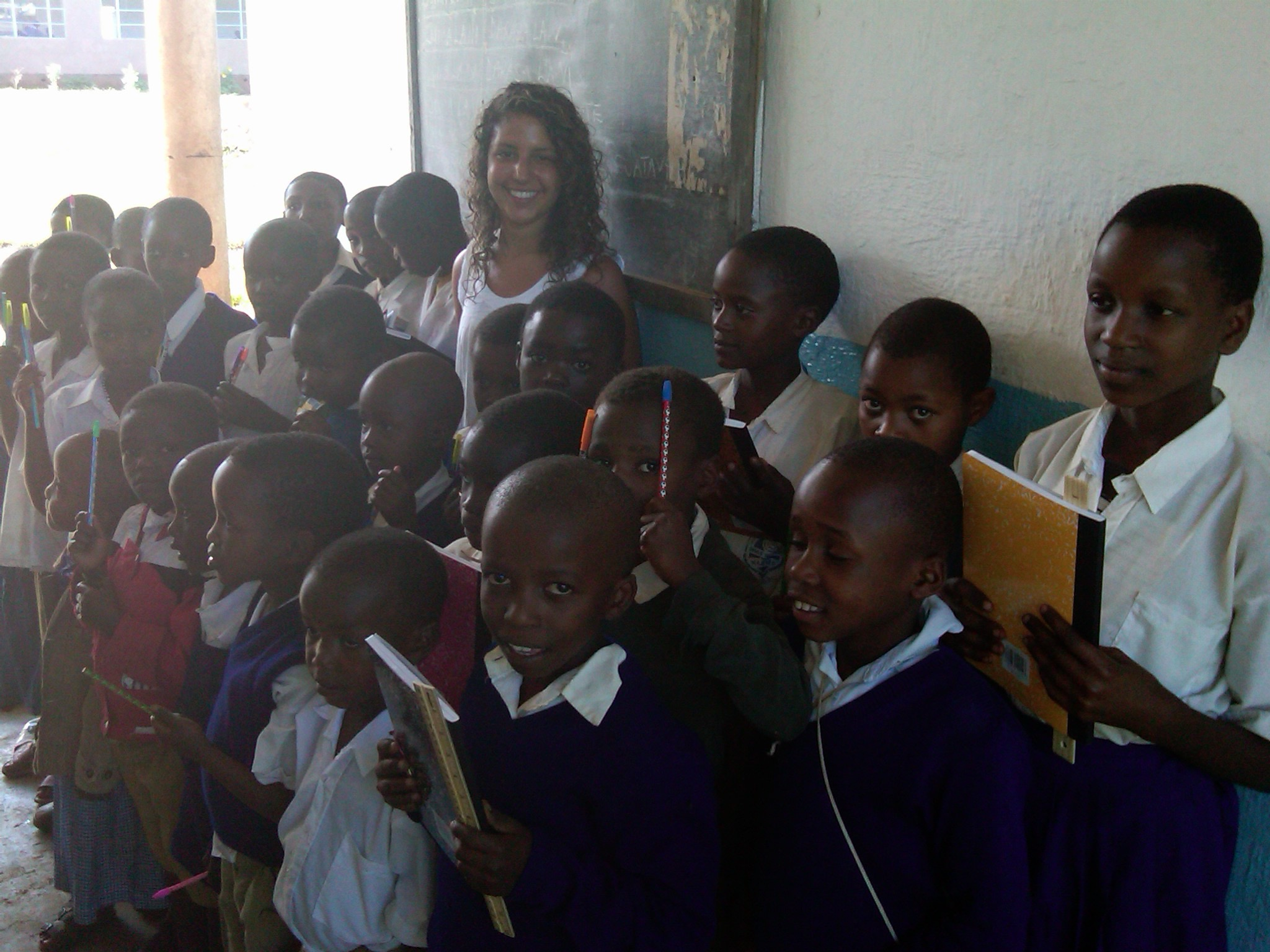 Giving new supplies to the students