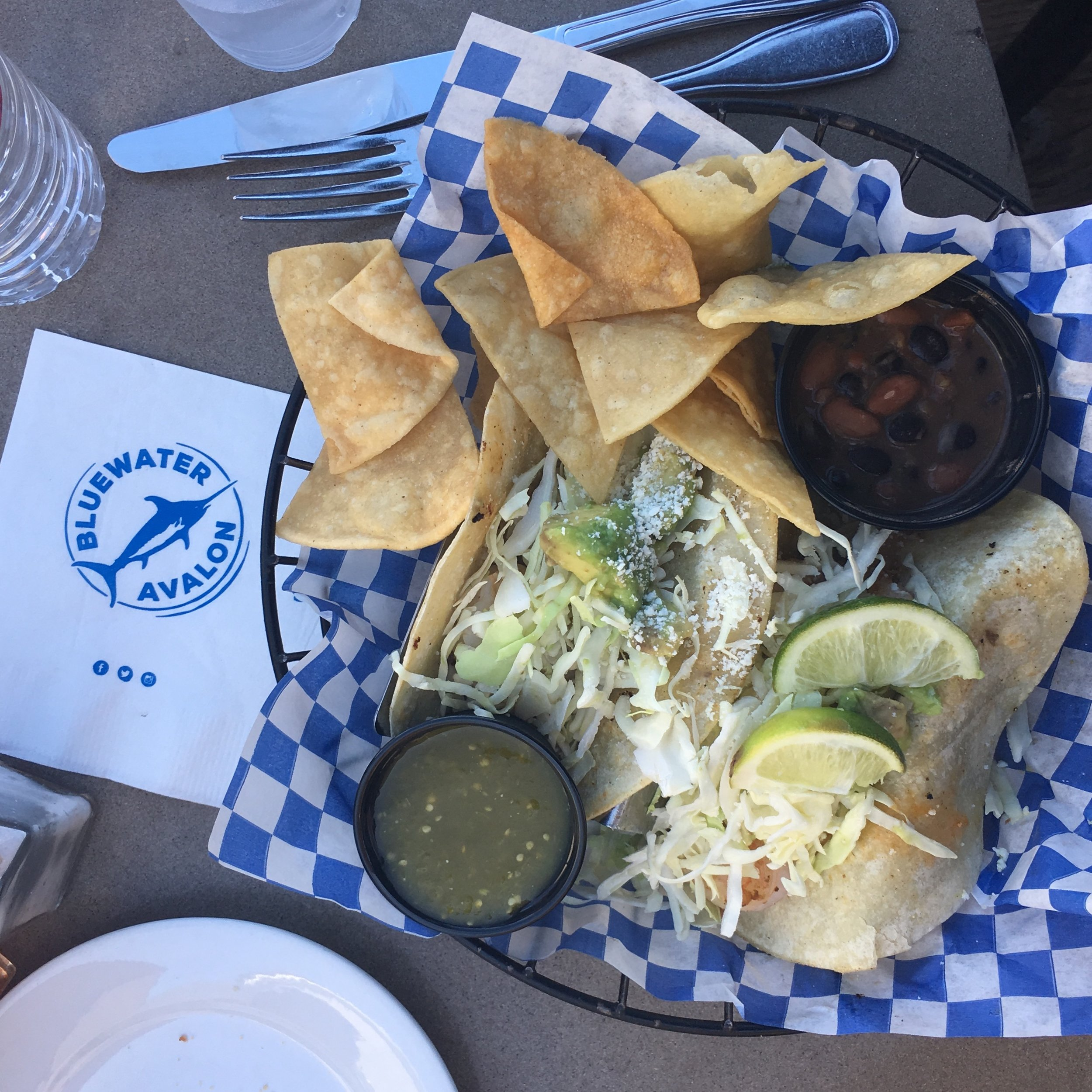 Fish tacos from Bluewater Grill