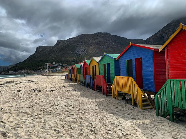 Colorful changing boxes 🎨 📍Muizenberg Beach, South Africa
