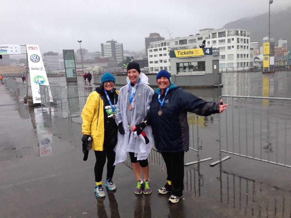 Kirsten, Keryn and Donna celebrating finishing the wellington Half Marathon. !!