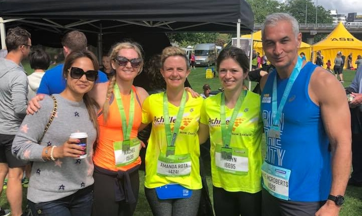 in the picture Left to Right - Wilma, Rachel, Amanda, Robyn and Mike after last years Auckland Marathon.