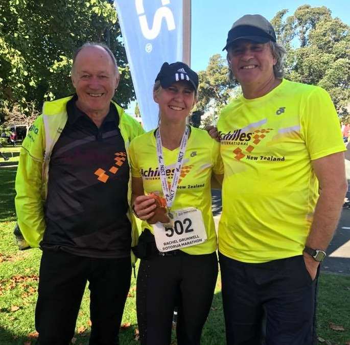 Peter loft, Rachel Grunwell and John Bowden at Rotorua Marathon 2018