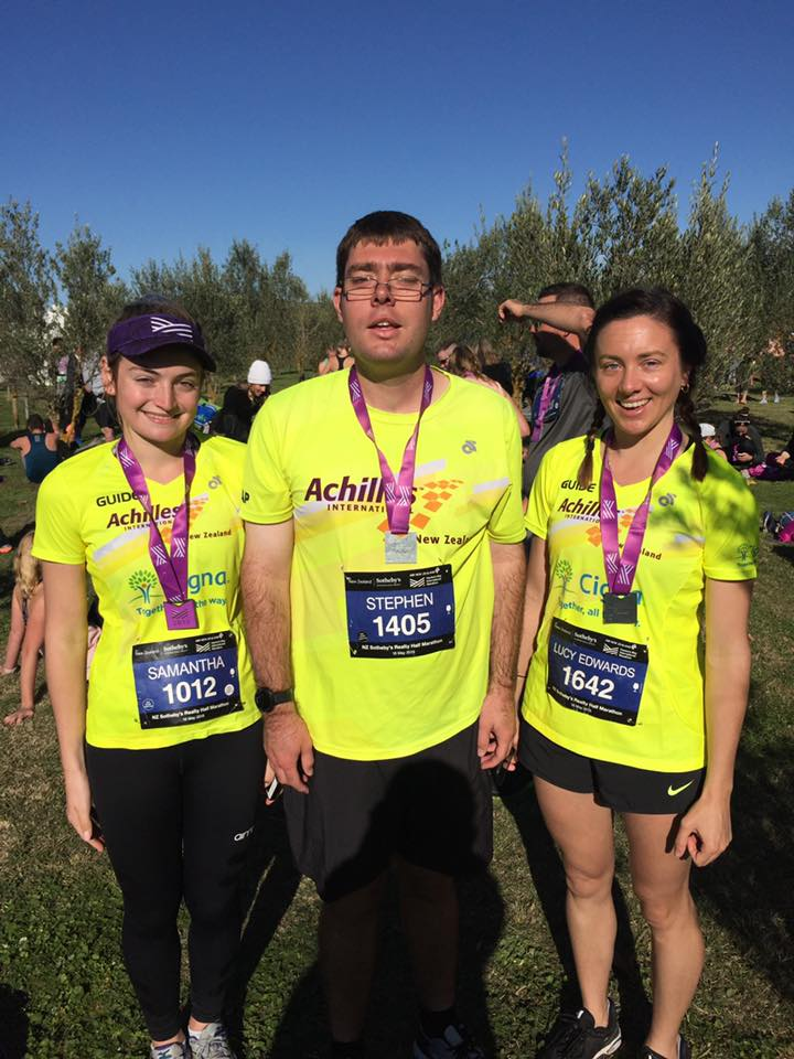 Stephen Jenkins with two of his Guides after the Hawkes Bay Marathon