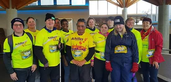 Achilles Rotorua and Taupo athletes and guides gathered before the Taupo marathon