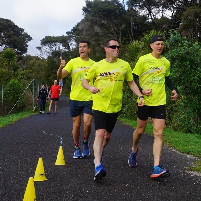 Mike Lloyd and his guides at parkrun