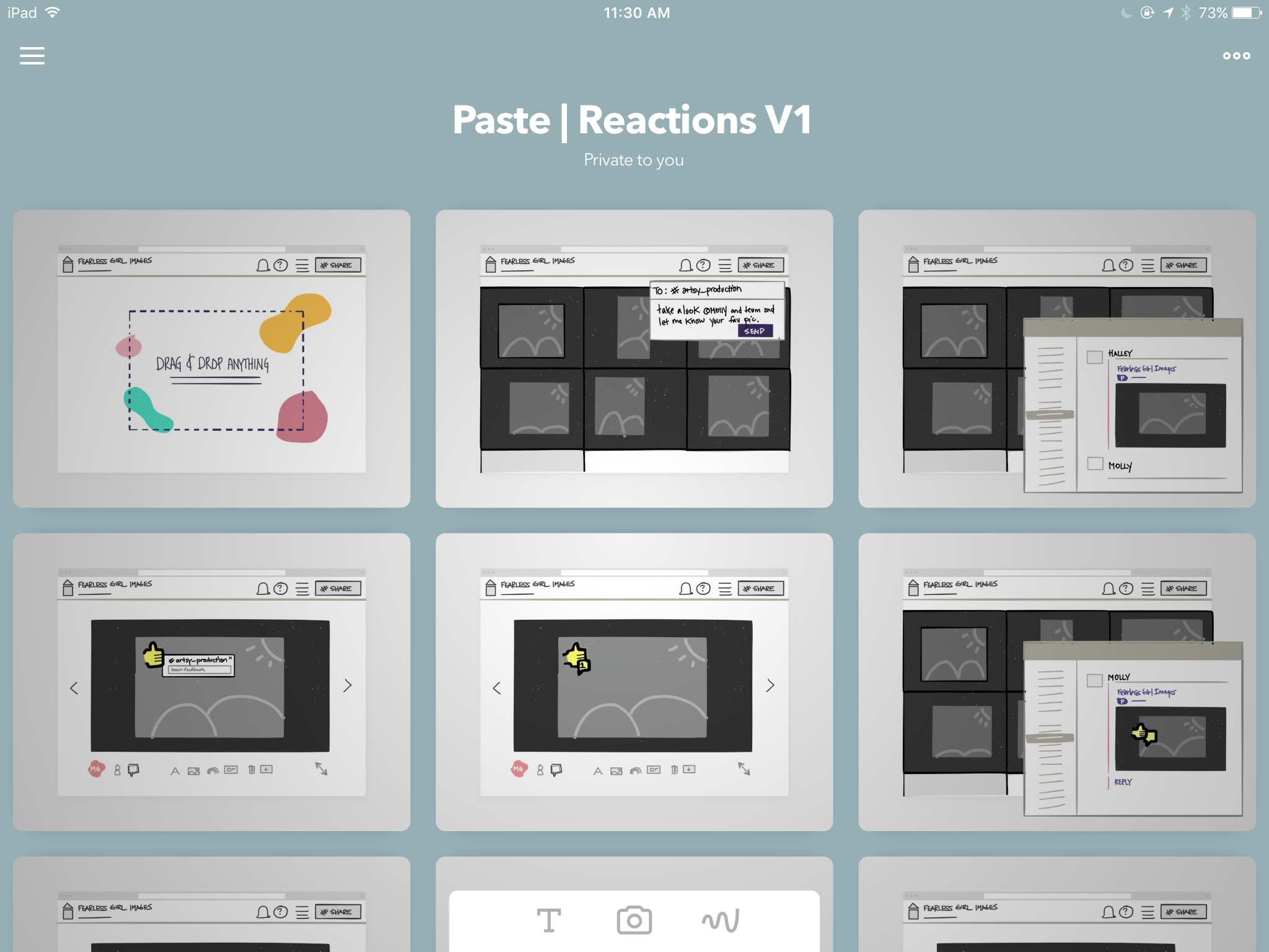 Paste 'reactions' feature sketched in Paper.