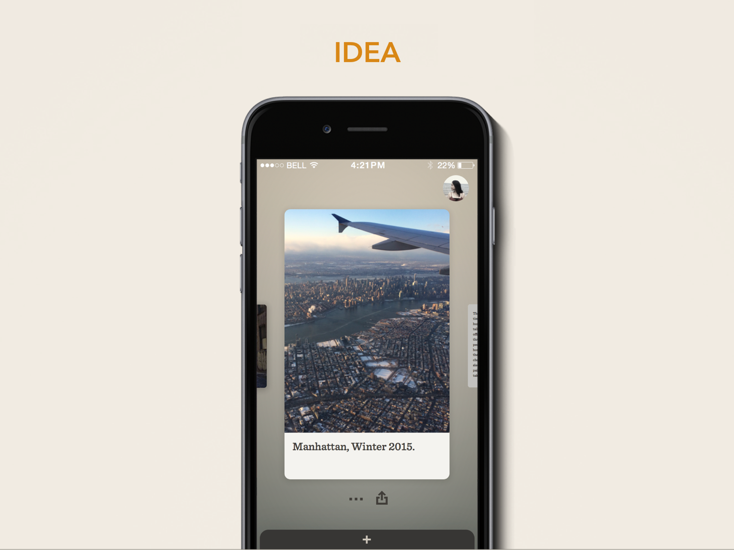 Ideas are represented as cards. Swipe to cycle through them.