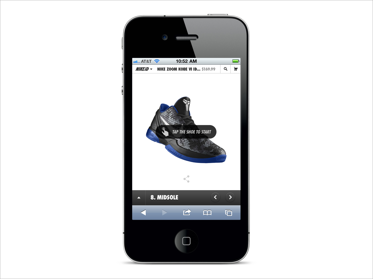 For the phone experience, tapping the shoe brings up the customization options.