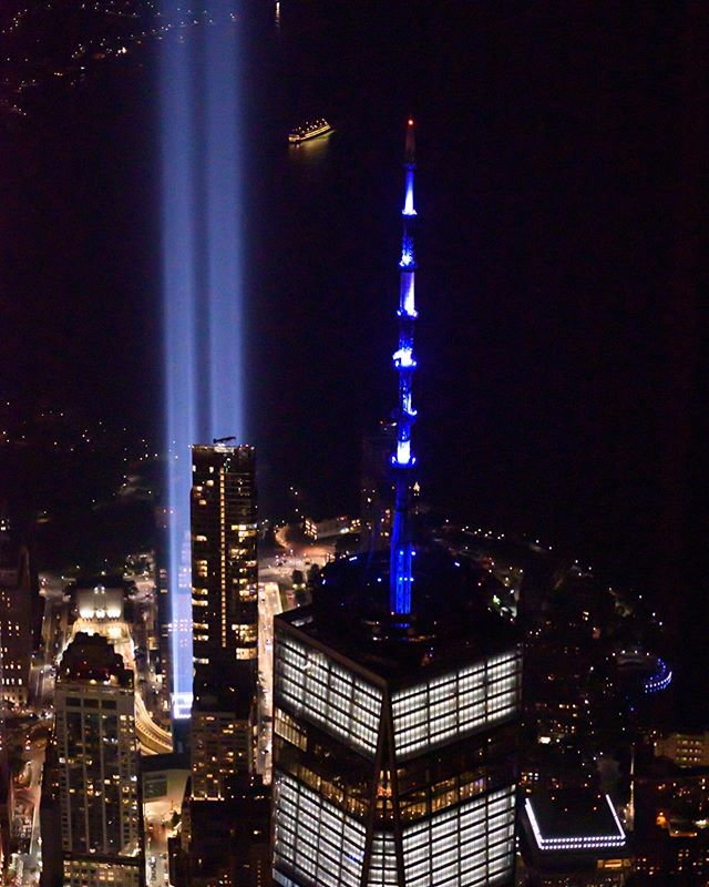 Tribute in Light, or in this case, Tribute in Flight 🚁. Shared this humbling perspective with some very talented friends: @al3x.nyc and @captiv_8. Thanks to the pilot @flying_copter_with_marciano for maneuvering all of the air traffic last night. #tributeinlight #neverforget