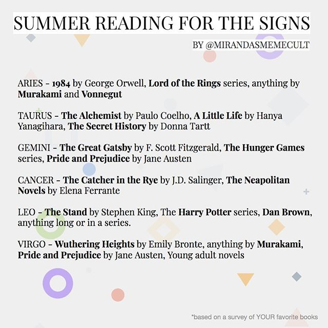 Made you guys a little summer reading list based on your responses to my story about your favorite books! I'd recommend checking out the selections for your moon & Mercury signs! Go support your local library! 👏☀️📚