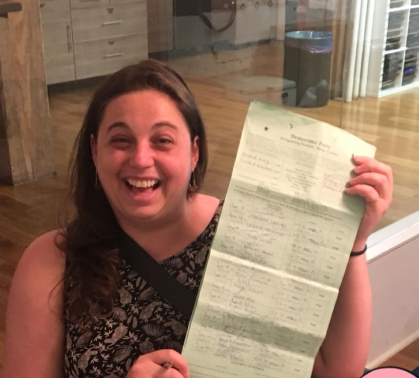 Cecilia submitting her 43 signatures for petitioning to be on the Brooklyn Democratic Party County Committee.