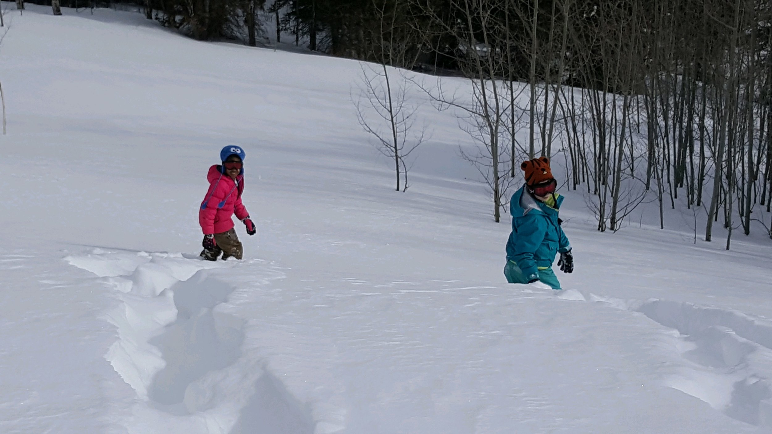 Snow shoeing…..first tracks!! Zaria and Amelia