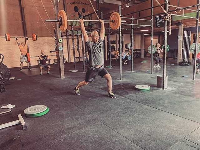 12min EMOM: Min 1-3: 1 Clean and Jerk @ 70% Min 4-6: 1 Clean and Jerk @ 75% Min 7-9: 1 Clean and Jerk @ 80% Min 10-12: 1 Clean and Jerk @ 85%  #crossfit #weightlifting #mastersathlete
