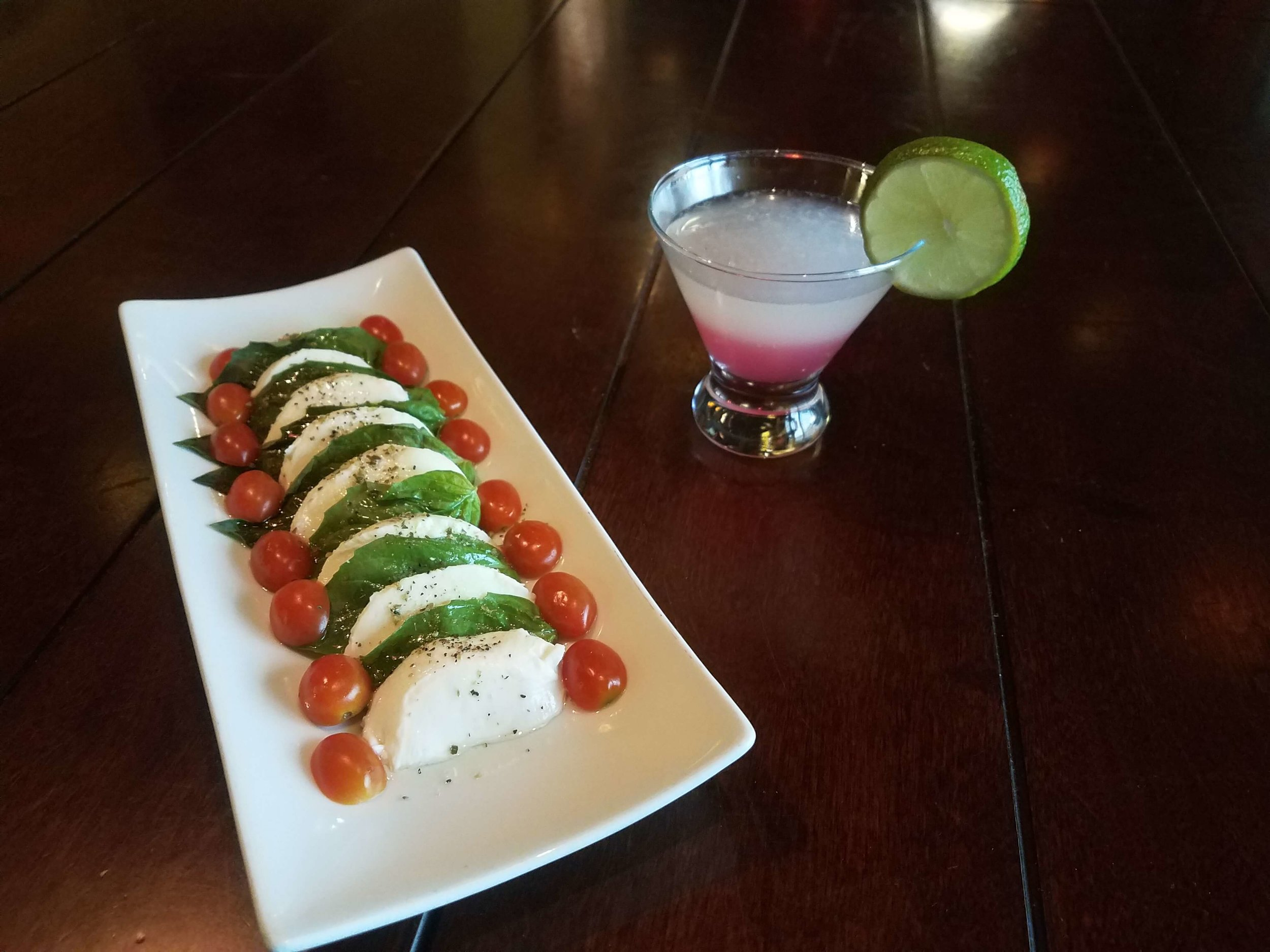 Insalata Caprese and Lime Drop Cocktail