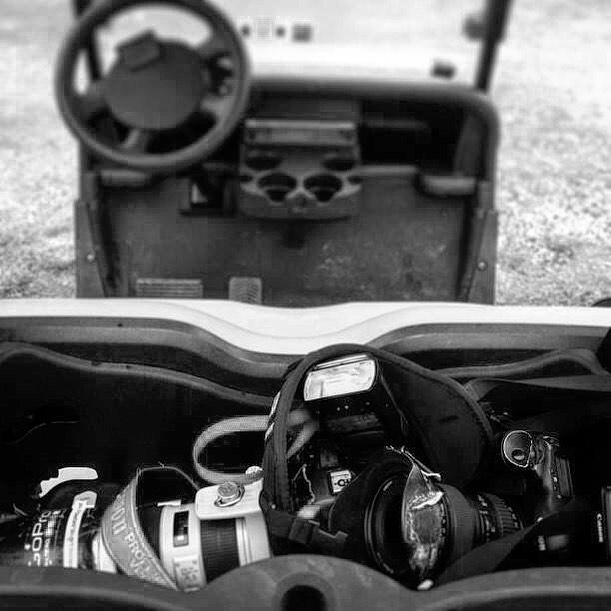 Best camera bag EVER. 🛒 Found this pic from way back. Turns out golf carts 🛒 have a little tray in the back that fit two #Canon 1D bodies with #70-200 and #16-35 attached. 🛒 (Side note: I only ever lost one lens travelling this way. And I found it again later back down the 9th fairway. ⛳️ What's your favourite way of moving your gear?