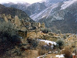The original Lelung Monastery was consecrated by the Fifth Lelung Rinpoche in 1717. The monastery temple shown in this photograph was built by local villagers in the 1990s