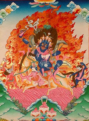 Palden Lhamo ('Glorious Goddess') is the wrathful deity considered to be the principal protectress of Tibet.  An offering to Palden Lhamo on this day helps to remove obstacles for the following year.