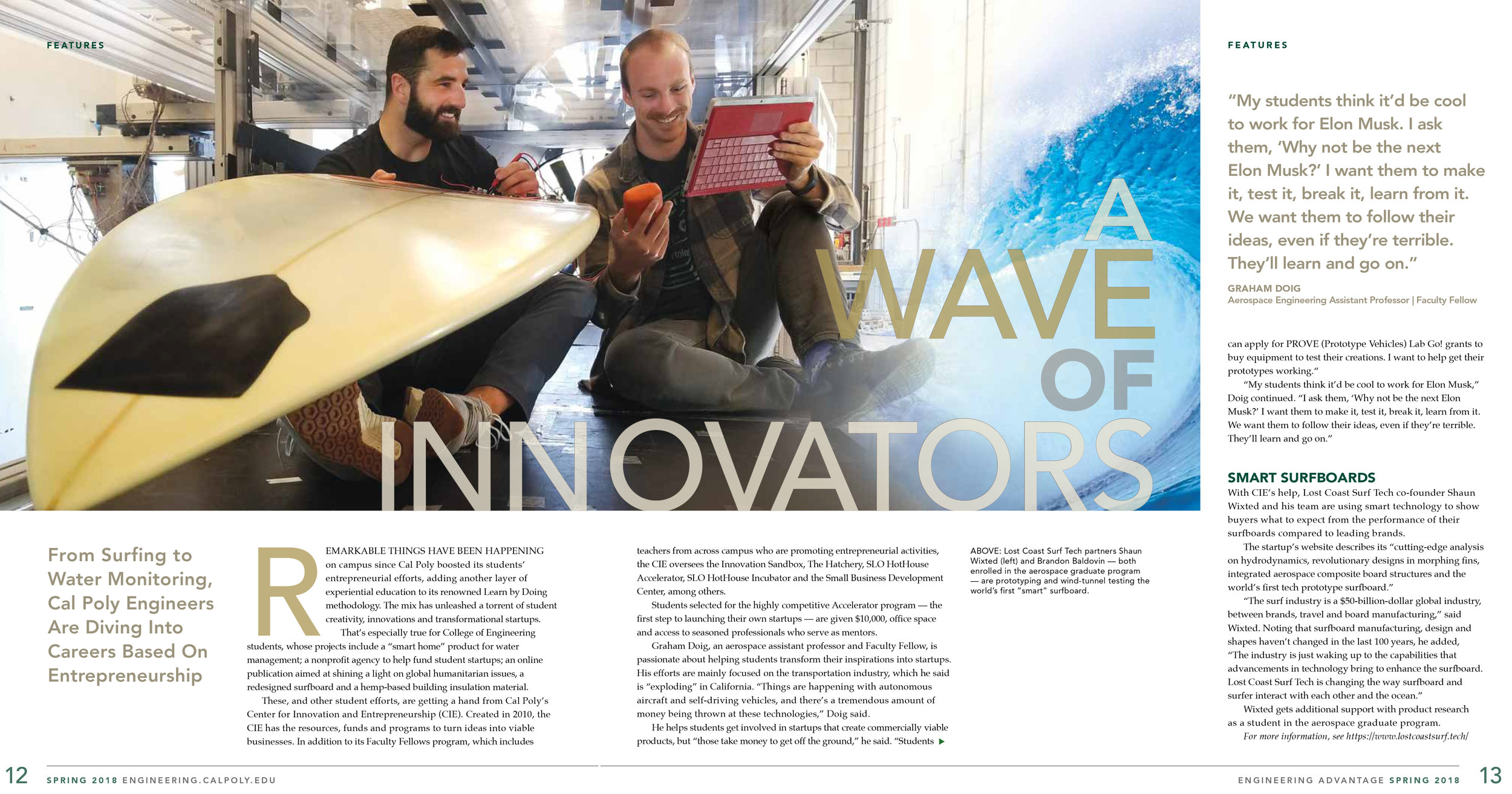 Lost Coast Surf in Cal Poly's Engineering Advantage magazine.