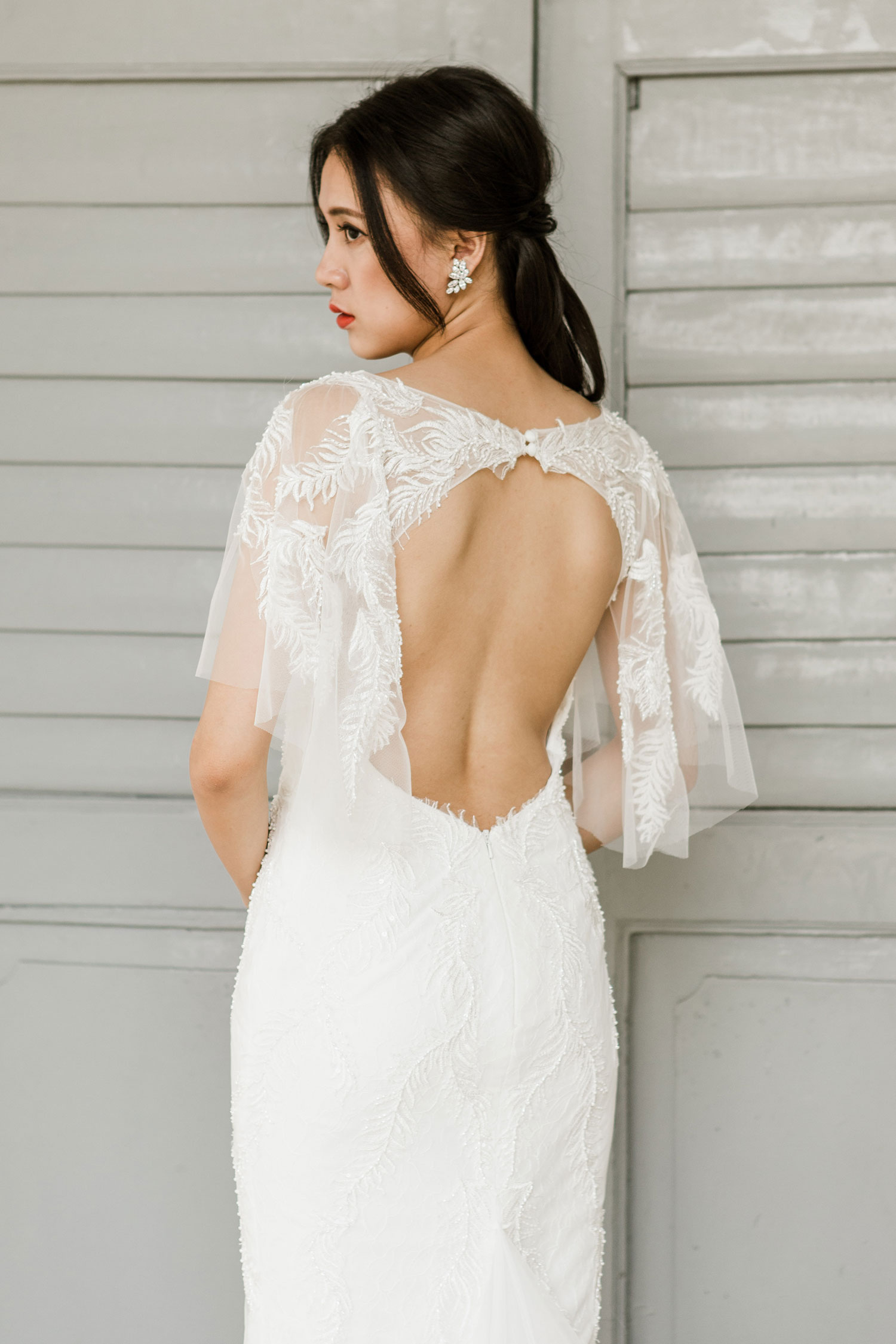 Backless wedding dress with short sleeves by CCM Wedding