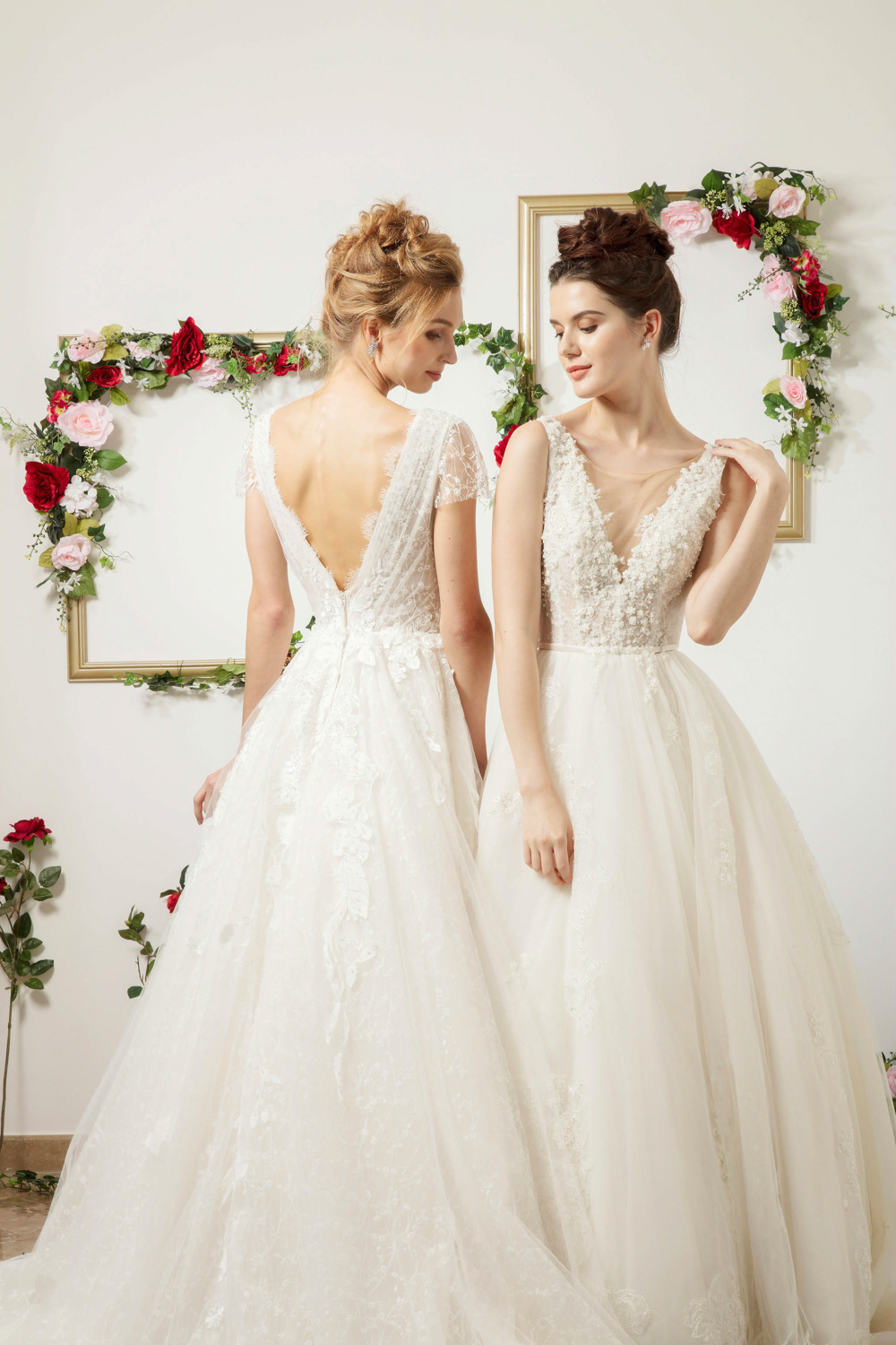 Backless wedding dress and wedding dress with plunging neckline by CCM Wedding