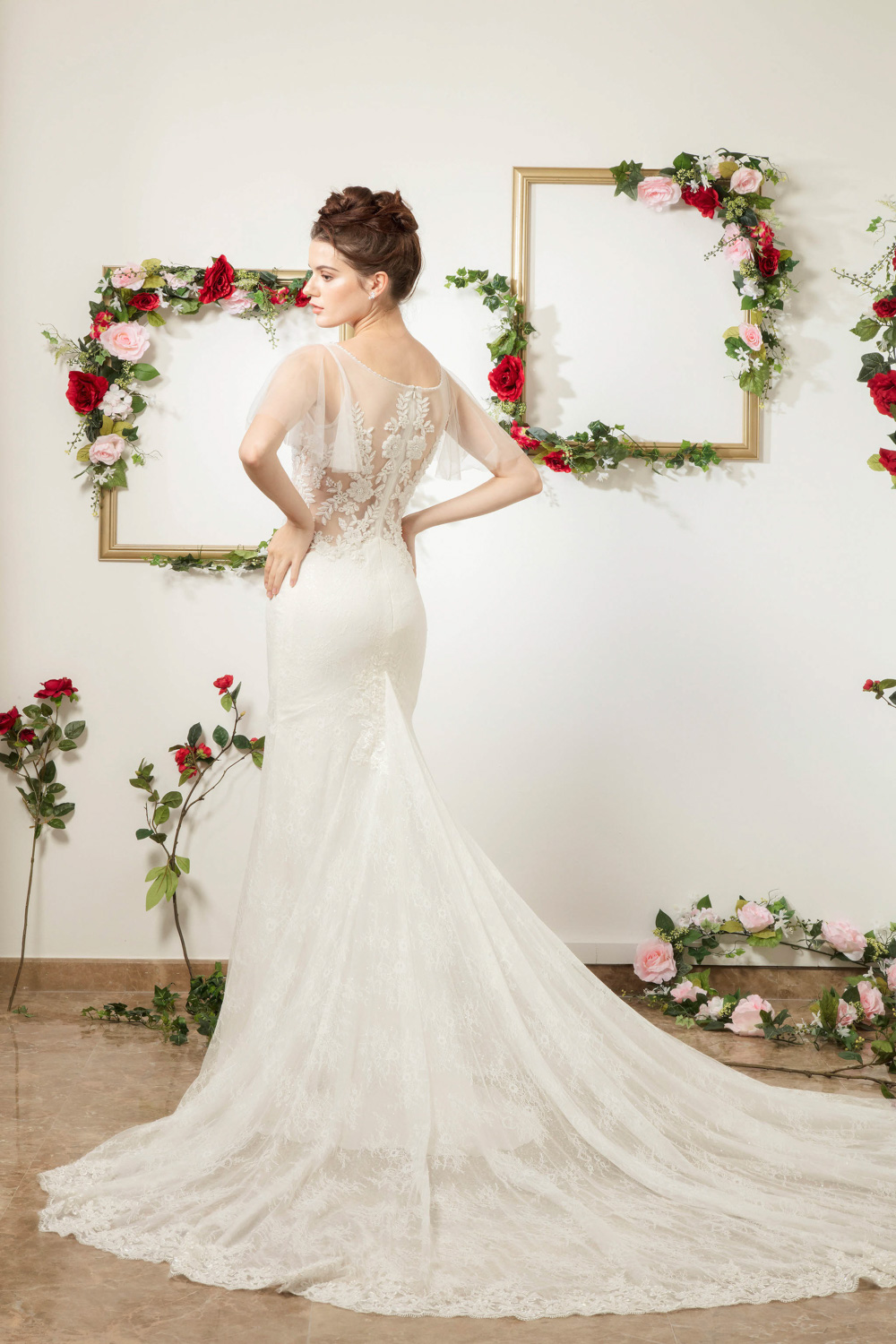 Trumpet silhouette wedding dress with train by CCM Wedding