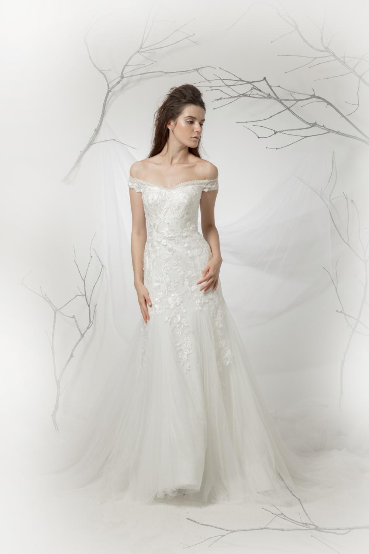 Off the shoulder wedding dress by CCM Wedding