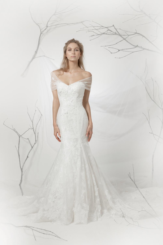 Off the shoulder trumpet silhouette wedding dress by CCM Wedding