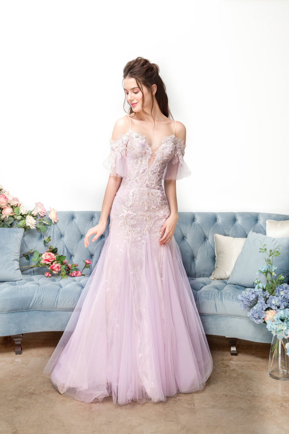 Off the shoulder fit and flare evening gown by CCM Wedding