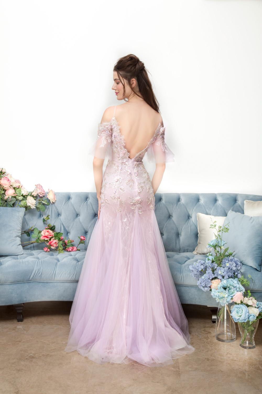 Low back lilac evening dress by CCM Wedding