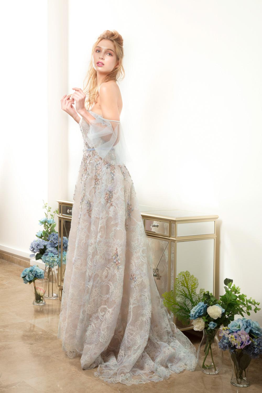 Off the shoulder evening dress by CCM Wedding