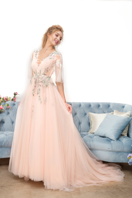 Pink half sleeve evening dress by CCM Wedding