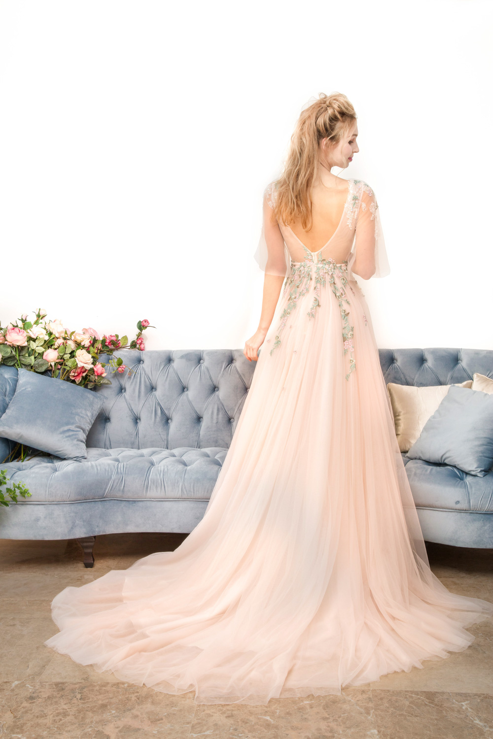 Low back peach evening gown by CCM Wedding