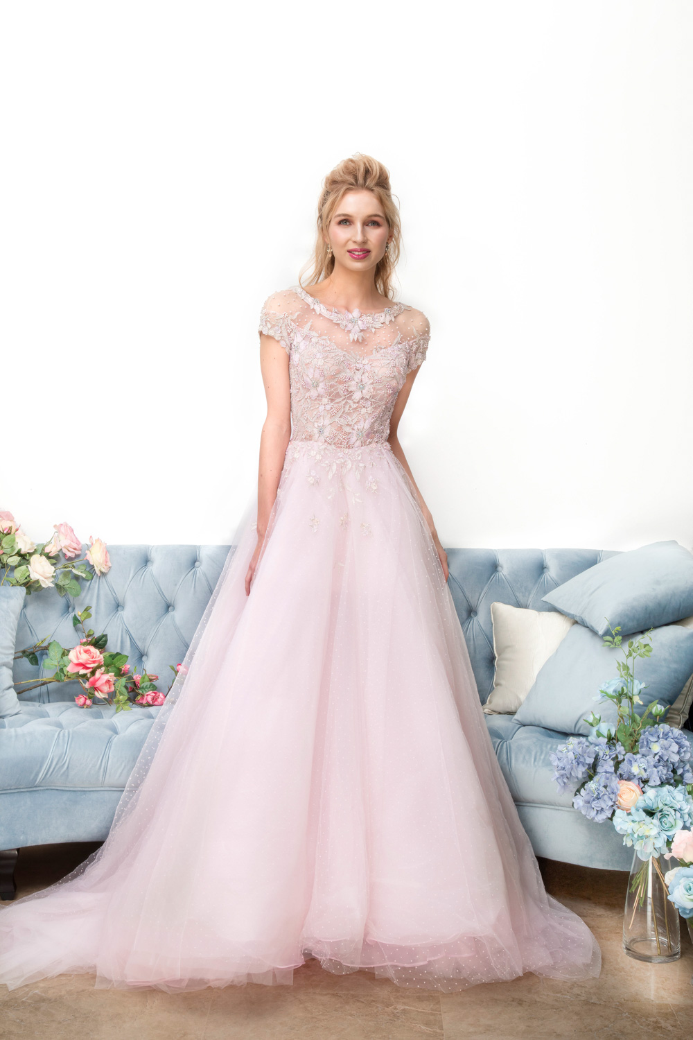 Illusion off the shoulder evening gown by CCM Wedding