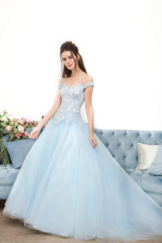 Blue off the shoulder evening dress by CCM Wedding