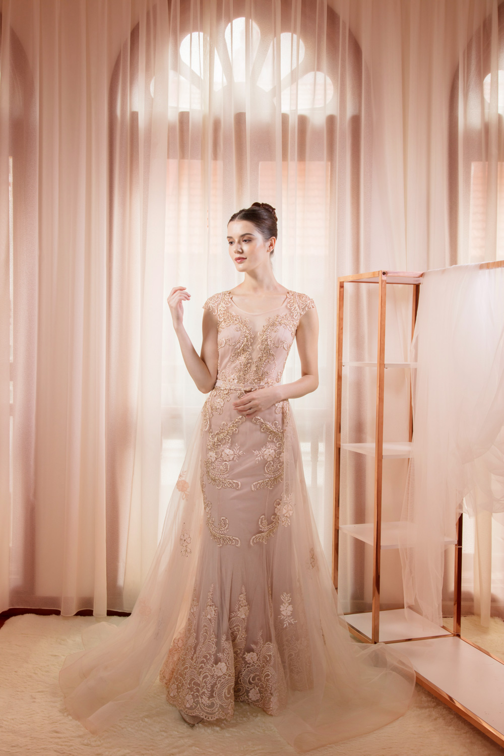 Champagne coloured evening gown by CCM Wedding