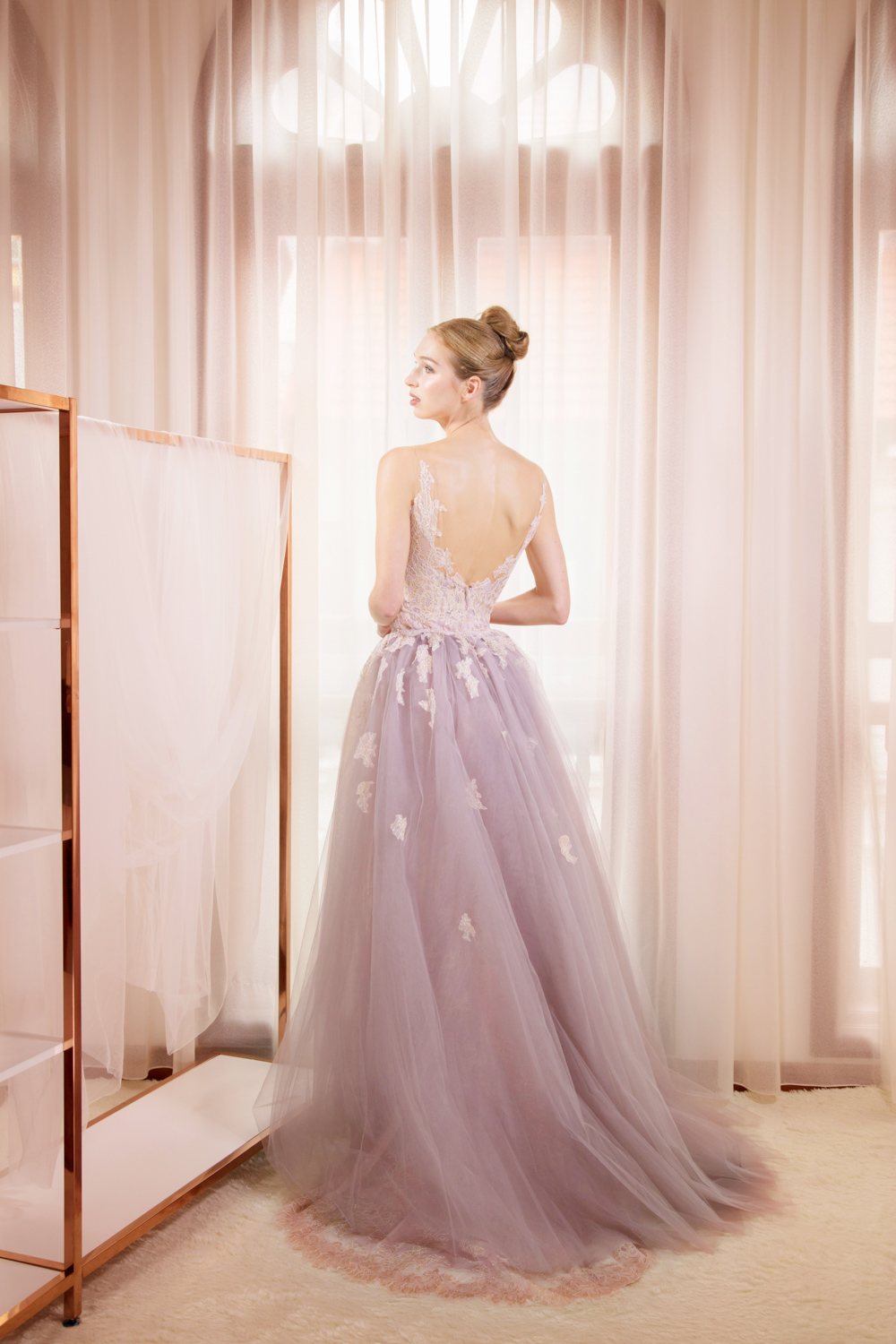 Low back lilac evening gown by CCM Wedding
