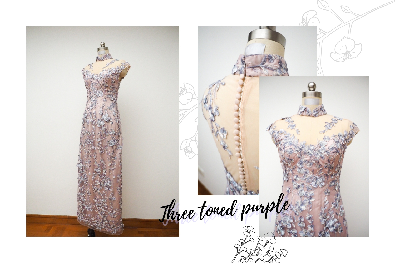 Purple mother's cheongsam by CCM Wedding