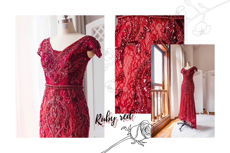 Red floral cheongsam by CCM Wedding