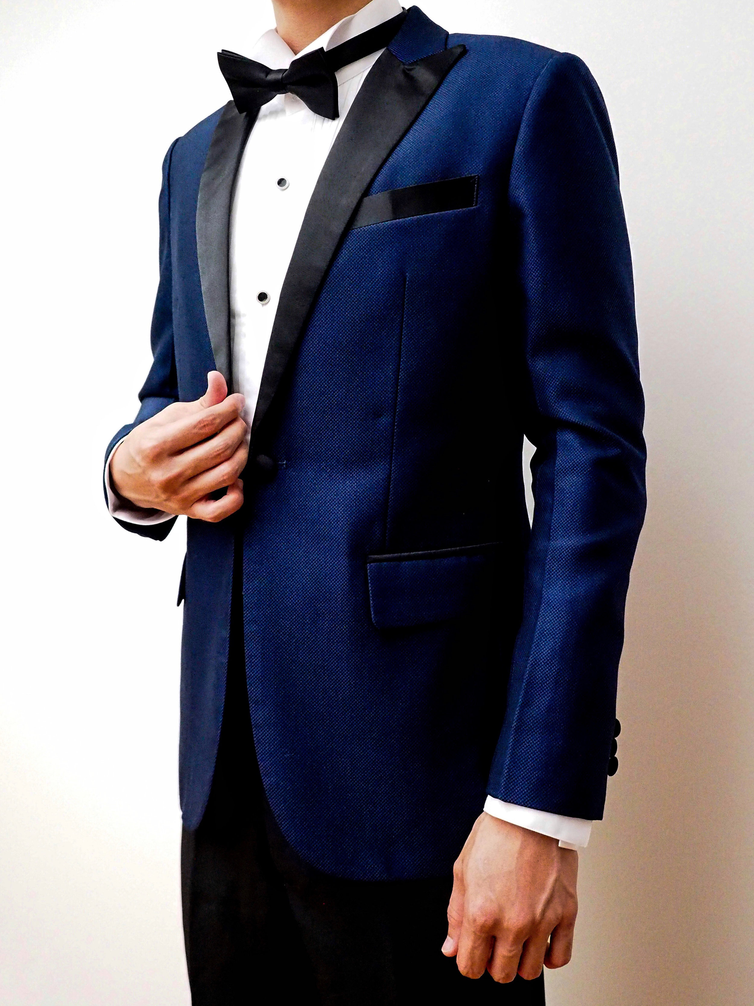 Blue woven suit by CCM Wedding