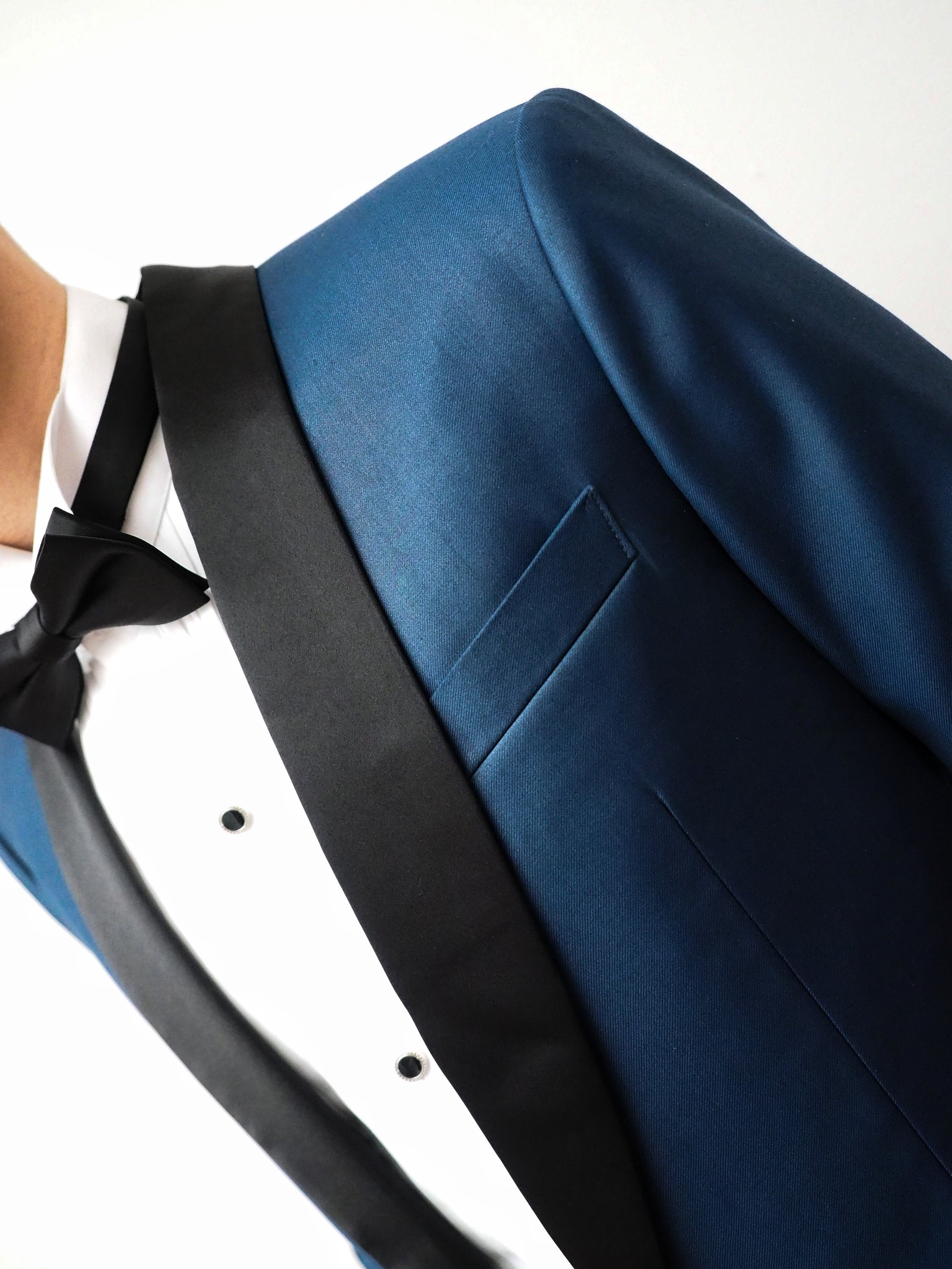 Detail of steel blue suit by CCM Wedding